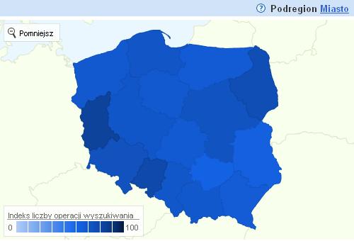 Statystyki wyszukiwarki dla poszczególnych lokalizacji